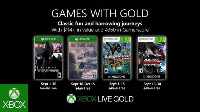 Anunciados los Juegos con Gold de septiembre de 2019