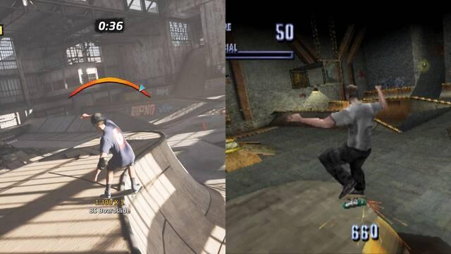 Comparativa gráfica entre Tony Hawk's Pro Skater 1+2 y el juego original.