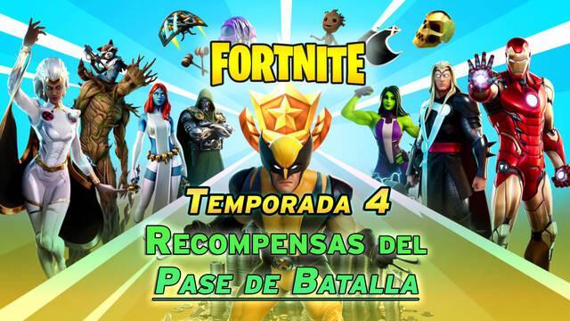Fortnite T4: Todas las skins y recompensas del pase de batalla