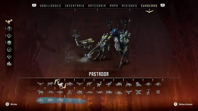 Pastador en Horizon: Zero Dawn - Puntos débiles y recompensas