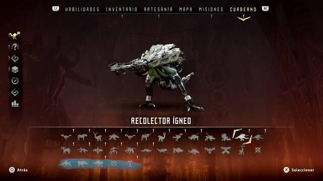 Recolector ígneo en Horizon: Zero Dawn - Puntos débiles y recompensas