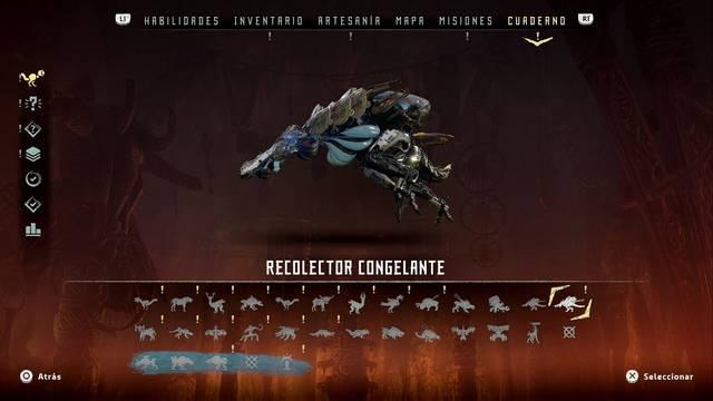 Recolector congelante en Horizon: Zero Dawn - Puntos débiles y recompensas