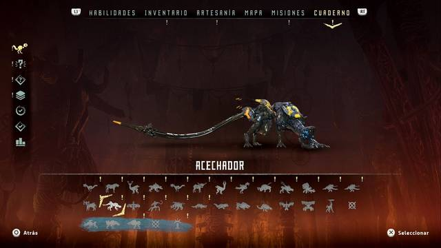 Acechador en Horizon: Zero Dawn - Puntos débiles y recompensas