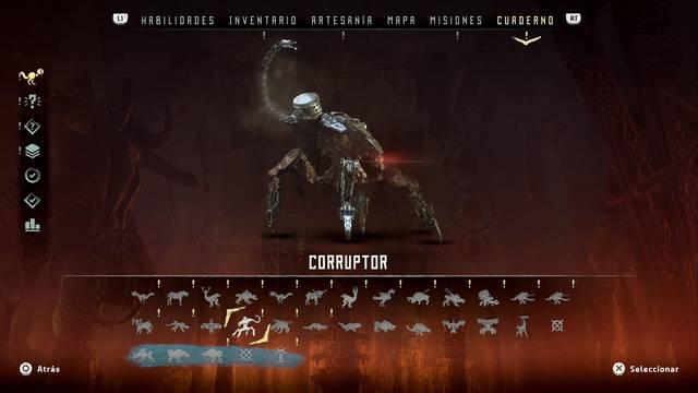 Corruptor en Horizon: Zero Dawn - Puntos débiles y recompensas