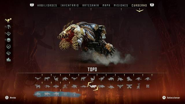 Topo en Horizon: Zero Dawn - Puntos débiles y recompensas