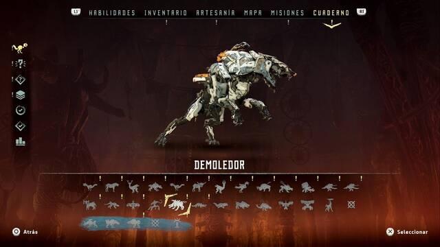 Demoledor en Horizon: Zero Dawn - Puntos débiles y recompensas