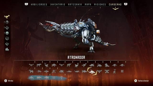 Atronador en Horizon: Zero Dawn - Puntos débiles y recompensas