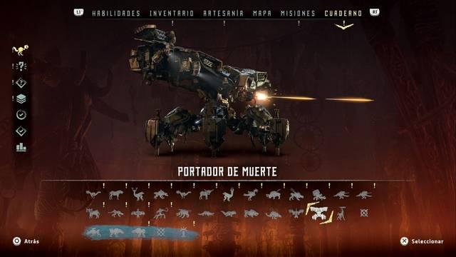 Portador de Muerte en Horizon: Zero Dawn - Puntos débiles y recompensas