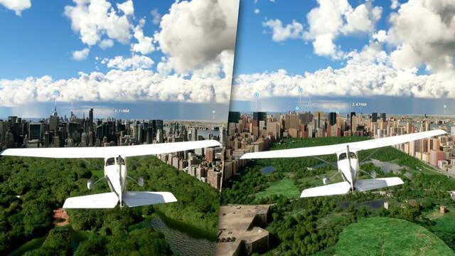Microsoft Flight Simulator comparativa gráficos online y offline
