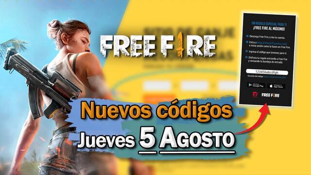 Free Fire: Códigos jueves 5 de agosto de 2021
