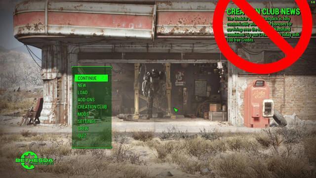 Diseñan un 'mod' para eliminar el Creation Club de Fallout 4