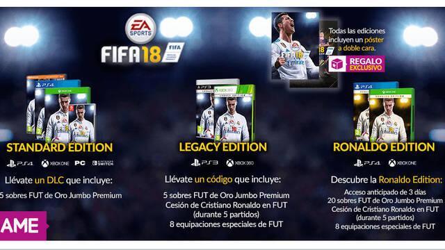 GAME detalla sus ofertas, packs y ediciones de FIFA 18