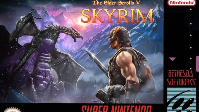 Bethesda celebra la llegada de SNES Mini con una portada de Skyrim 'retro'
