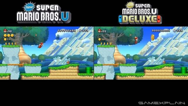 Comparan los gráficos de New Super Mario Bros. U en Wii U y Switch