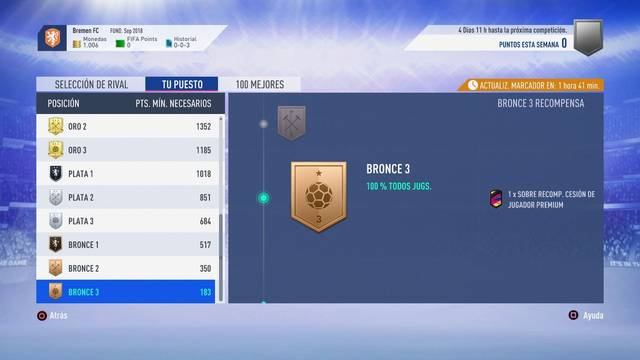FIFA 19: TODAS las Recompensas de Squad Battles en Ultimate Team