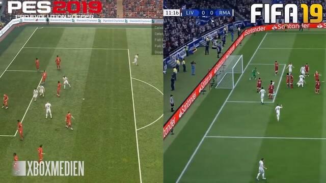 Comparan los gráficos de FIFA 19 y PES 2019