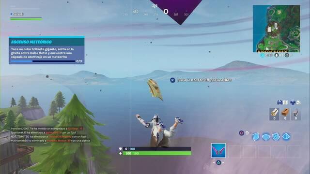 Fortnite: cubo brillante gigante, grieta sobre Balsa Botín y cápsula de aterrizaje - LOCALIZACIÓN