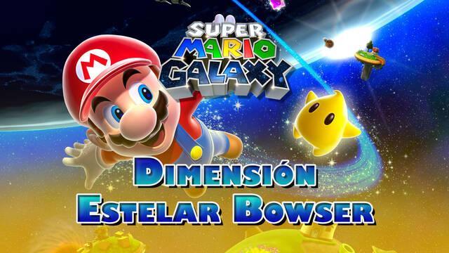 Dimensión Estelar Bowser en Super Mario Galaxy al 100% y estrellas