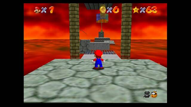 Bowser in the fire sea en Mario 64: estrellas y 100%
