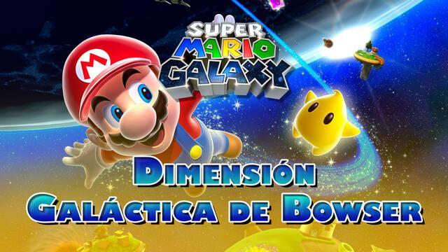 Dimensión Galáctica de Bowser en Super Mario Galaxy al 100% y estrellas