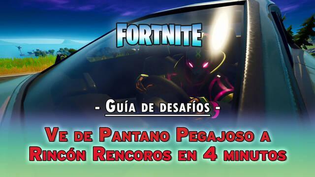 Desafío Fortnite: ve de Pantano Pegajoso a Rincón Rencoroso en coche en 4 minutos