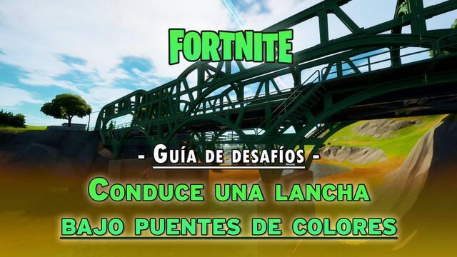 Desafío Fortnite: Pasa en lancha bajo puentes de acero de colores - LOCALIZACIÓN