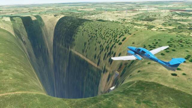 Un misterioso hoyo colosal aparece en Microsoft Flight Simulator.
