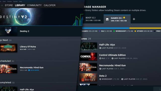 Steam actualización descargas y biblioteca