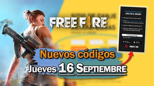Free Fire: Códigos jueves 16 de septiembre de 2021