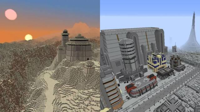 Recrean varias localizaciones icónicas de Star Wars en Minecraft