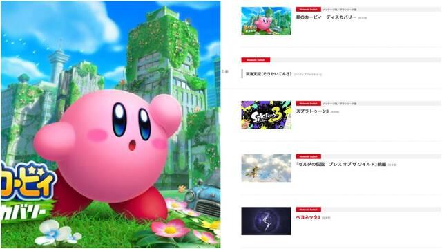 Nintendo Japón filtra un nuevo juego de Kirby y Bayonetta 3 para 2022.