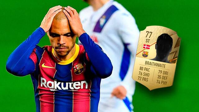 Martin Braithwaite del F.C. Barcelona queja FIFA 22 valoración
