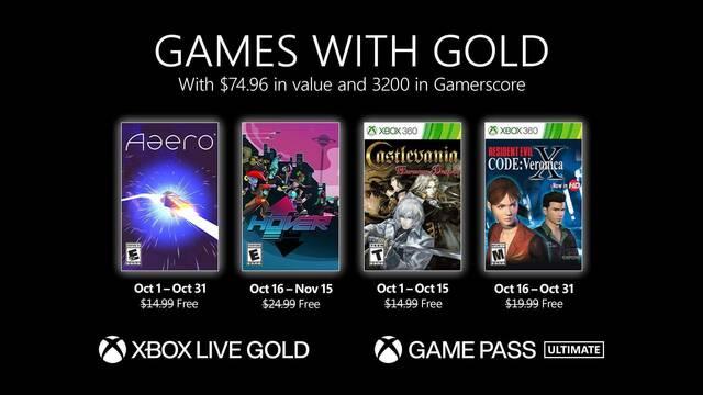 juegos gratis con Xbox Live Gold para octubre de 2021