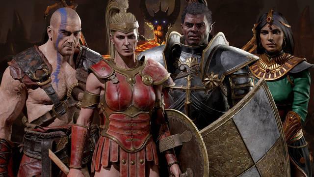 Así son el Bárbaro, la Hechicera, el Paladín y la Amazona en Diablo 2: Resurrected.
