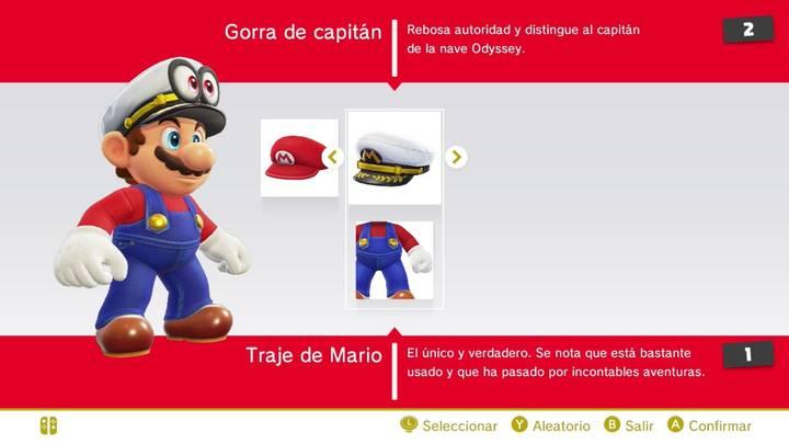 Traje y gorra de capitán Mario Super Mario Odyssey