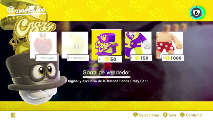 Gorra de vendedor Super Mario Odyssey
