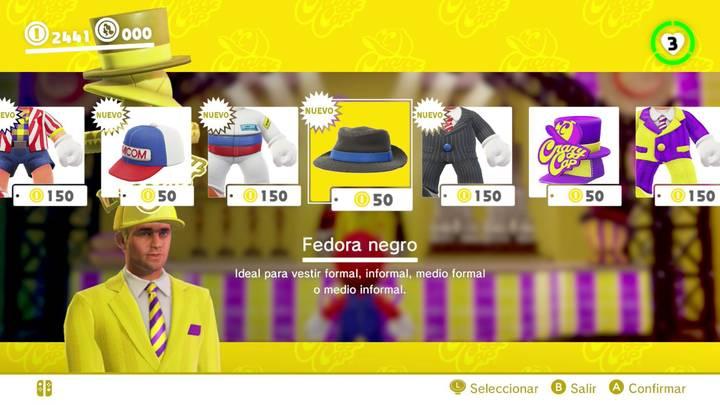 Fedora negro Super Mario Odyssey