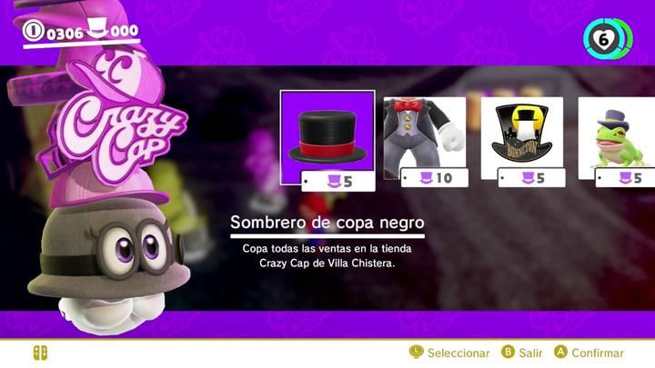 Sombrero de copa negro Super Mario Odyssey