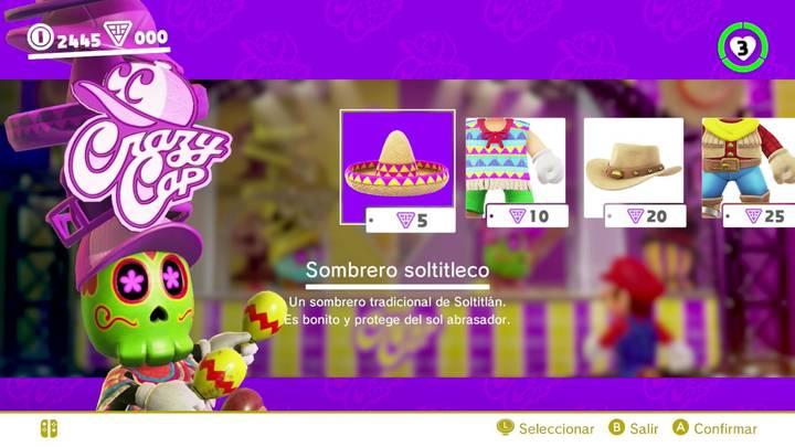 Sombrero soltitleco Super Mario Odyssey