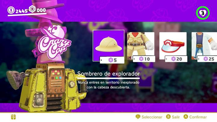 Sombrero de explorador Mario Odyssey