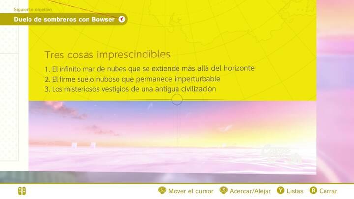 Tres cosas imprescindibles Reino Cúmulo Super Mario Odyssey