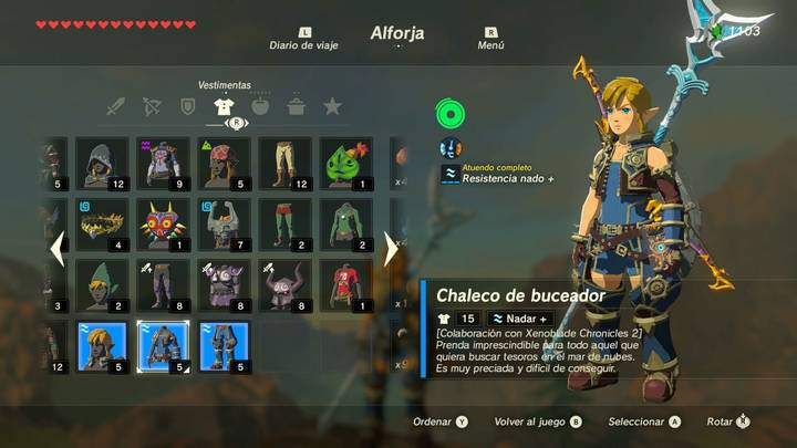 Armadura Xenoblade Chronicles 2 en Zelda: Breath of the Wild