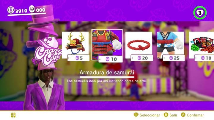 Armadura de samurái Mario Odyssey