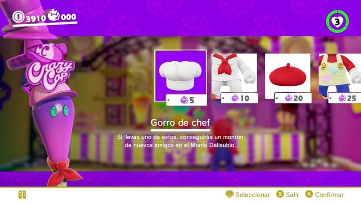 Gorro de chef Mario Odyssey