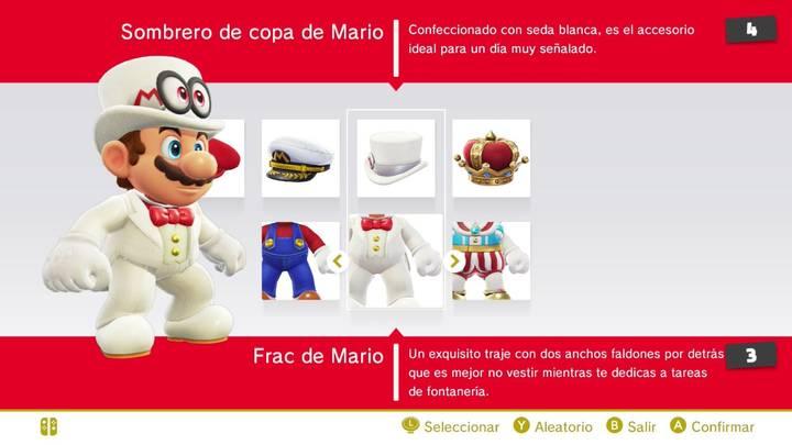 Sombrero de copa y Frac Mario Super Mario Odyssey