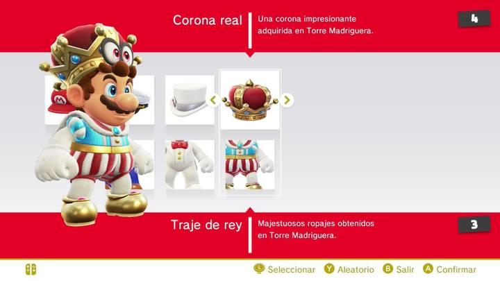 Corona real y Traje de rey Mario Super Mario Odyssey