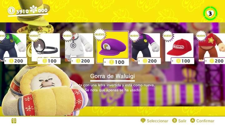Gorra de Waluigi Super Mario Odyssey