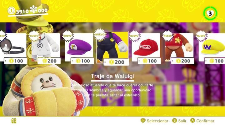 Traje de Waluigi Super Mario Odyssey