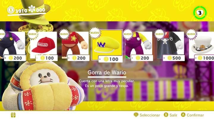 Gorra de Wario Super Mario Odyssey