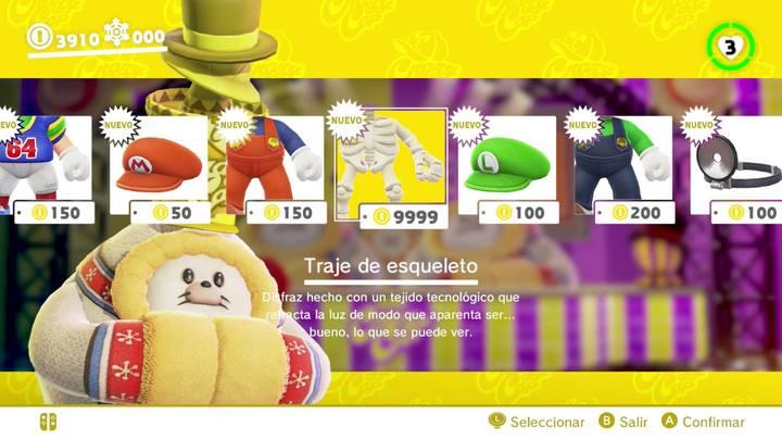 Traje de esqueleto Super Mario Odyssey